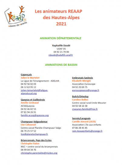 Annuaire ANIMATEURS REAAP 05 Lien vers: https://ferme.yeswiki.net/reaap05/?PagePrincipale/download&file=2021_06_Annuaire_ANIMATEURS_REAAP_05.pdf